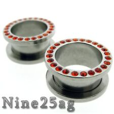 PAIR OF 0g 8MM GEM FLESH TUNNELS w/ RED STONES EARLET PLUGS TUNNEL