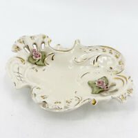 Vintage German Porcelain Floral Gold Trim Reticulated Candy Dish Applied Flowers