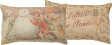 "Primitives by Kathy "" Merry Christmas Everyone Letters To Santa "" Pillow 14x9"