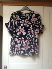 ladies navy frill sleeve floral top by ATMOSPHERE size 12