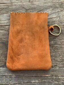 Nice Quality Excellent Brown Suede Genuine Leather Bag Coin Pouch Stash Jewelry
