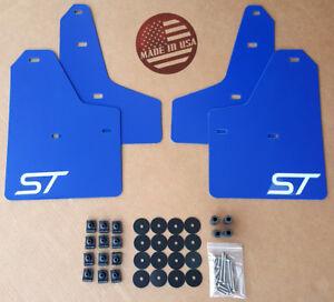 [SR] 11-18 Ford FOCUS ST SE S Mud Guard Flaps Set BLUE w/ Logo & Hardware Kit