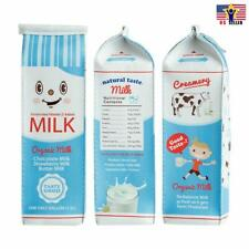 Faux Leather Milk Cartons Pencil Pen Cosmetic Case Kawaii Stationery Pouch Bag