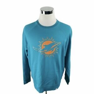 Majestic Miami Dolphins NFL Green Long Sleeve Crewneck Sweater Men's Large L