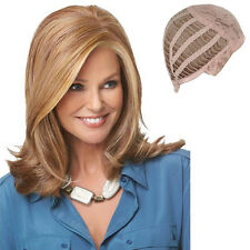 FULL MEDIUM WOMENS LADIES HAIR WIG CURLY LIGHT BLONDE SHOULDER LENGTH Lob STYLE