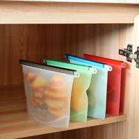 Reusable Silicone Kitchen Fresh Zip lock Bag Food Freezer Storage Ziplock
