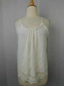 Flora Nikrooz Ophelia Embroidered Mesh Cami Pajama Top - Ivory, XL #8144