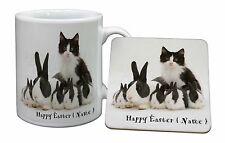 Personalised Easter Rabbits+Cat Mug+Coaster Christmas/Birthday Gift I, AR-6PEAMC