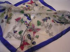 "VINTAGE BUTTERFLIES PRINT SHEER SILK SCARF 16"" SQUARE WITH SLIT FOR TYING CUTE"