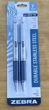 Zebra Pen Stainless Steel F 402 Ballpoint Fine Point 07mm Black Ink 2 Pack F402