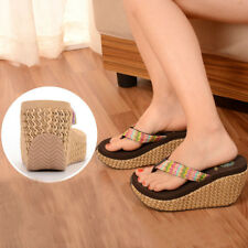 Women's Casual Sandals Summer Slippers Platform Shoes Clip Toe Wedge Flip Flop