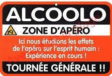 "Plaque de porte humoristique Zone de Danger ""Alcoolo"" idée cadeau NEUF"