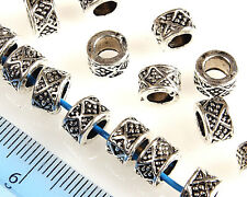 20 X ANTIQUE SILVER~ROUND ~TIBETAN STYLE~SPACER BEADS, 8 x 5 MM,HOLE~4.5 MM