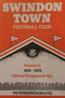 Swindon Town v Peterborough United 1974/75 programme