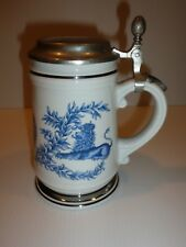 Lidded Tankard, Blue Crown and Lion, Erbo Zinn Lid