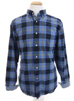 Nautica Mens Button Down Front Shirt Long Sleeve Plaid Check Blue Sz Large