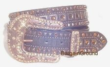 New Womens Western Topaz Rhinestone Bling Crystal Brown Bronze Leather Belt ML