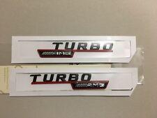 2x Mercedes-Benz  AMG Turbo Badge Emblem Decals Red