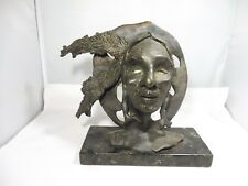 BRONZE SCULPTURE OF INDIAN CHIEF FROM AN EDITION OF 20 SIGNED W INITIALS BS