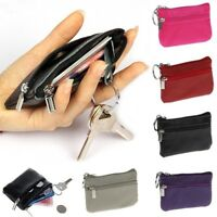 Hot Sale Genuine Leather Bag Key Chain Change Zipper Pocket Coin Purse Holder