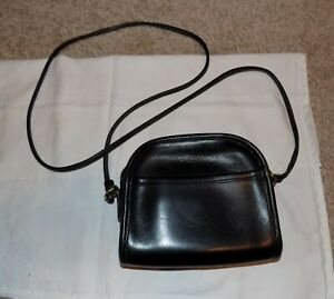 Coach Black Leather Small Crossbody Purse with Zipper and Outer Pocket