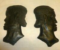 Chalk Ware Greek Roman Egyptian Figure Bust Wall Plaque Hanging Vintage MCM