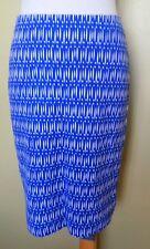 Ladies Womens Stretch Body-con Pencil Skirt Blue White Print Rockmans Size S(10)