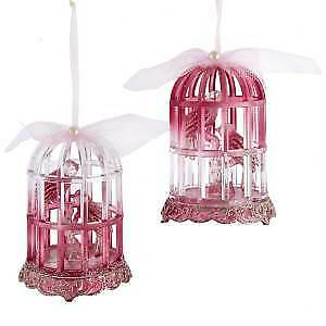 Set of 2 Burgundy Birdcage With Glitter Ornaments w