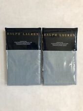 2 Ralph Lauren Madalena Wetherly Euro Sham Sky Blue Linen SET of 2 Retail $370