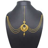 Indian Multi Chain Bridal Golden Matha Patti Tikka Head Chain Hair Jewellery
