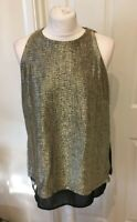 NEW Ladies Next Gold/Black Party Shiny Sleeveless Top (Size 6,8,10,12,16 )