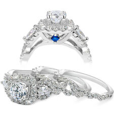 Set Round Cz Sterling Silver Size 8 Wedding Rings For Women Engagement Ring 3pcs