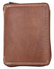 Natural strong genuine leather wallet with zipper around. Just leather no fabric