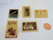 Collectable Vintage Lot of 5 USPS Stamp Pinbacks