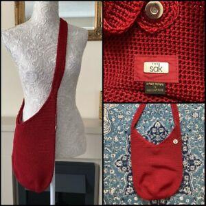 The Sak Crochet Bag Burgundy Red Hand Made Crossbody Shoulder VGC used Few Times