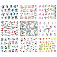 50 Sheets Mixed Flower Butterfly Water Transfer Nail Stickers Decals Art Tips Pr