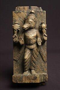 Antique wooden panel depicting Vishnu avatar Varaha, 17th/18th century, India