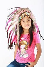 5-8 ans Kid / enfant : rose indien et coq noir plume coiffe de 21 pouces.53,3cm