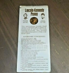 1972 D LINCOLN KENNEDY STAMPED COLLECTORS PENNY AND CARD