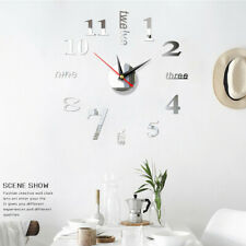 3D Wall Clock Watch Large Modern DIY Sticker Decal Simple Roman Numeral Home Kit