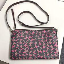 Fossil Sydney Purse Black & Pink Patten, zip top, cross shoulder bag