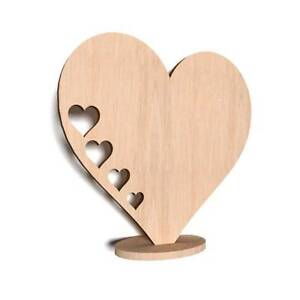 10x Wooden STANDING HEART Shape Plain HEART Tag Blank ROOM Decoration (W9)