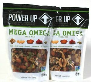 2 Bags GourmetNut 14 Oz Power Up Mega Omega Premium Ingredients Trail Mix