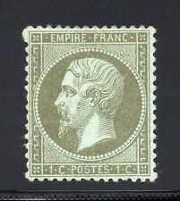 FRANCE 1862 NAPOLÉON LD, YVERT N°19 Neuf *, 1c Vert-oilve, SIGNÉ BRUN, YV 240 €