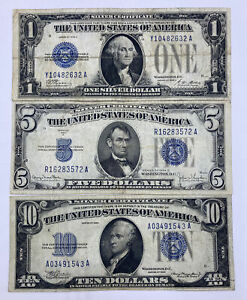 SET OF THREE 1928-1934 ($1)ONE, ($5)FIVE, ($10)TEN PAY TO BEARER ON DEMAND NOTES