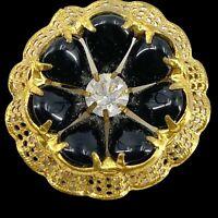 "Vintage Black & Gold Flower Brooch Pin Center Prong Set Clear Rhinestone 1.5"""