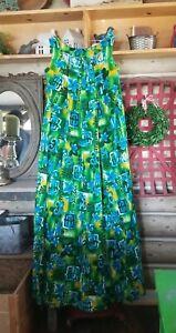 Vintage BARKCLOTH Handmade Floral Hawaiian Kaftan Muumuu Dress Lounge A Line M/L
