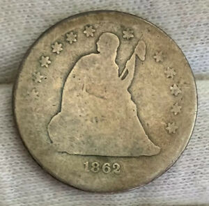 1862-S ~ Tough Civil War Date ~ Liberty Seated 25c ~ Very LOW 67k Mintage! Rare!