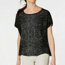 Eileen Fisher Top Black White Graphic Boat Neck Top L/XL $278