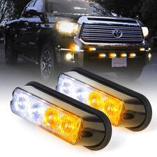 2pcs Amber White LED Side Marker Strobe Lights Emergency Warning Deck Dash Grill
